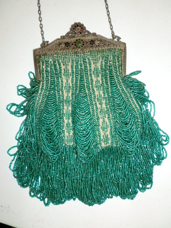 1920s Beaded Frame Evening Bag in Turquoise Beads 3