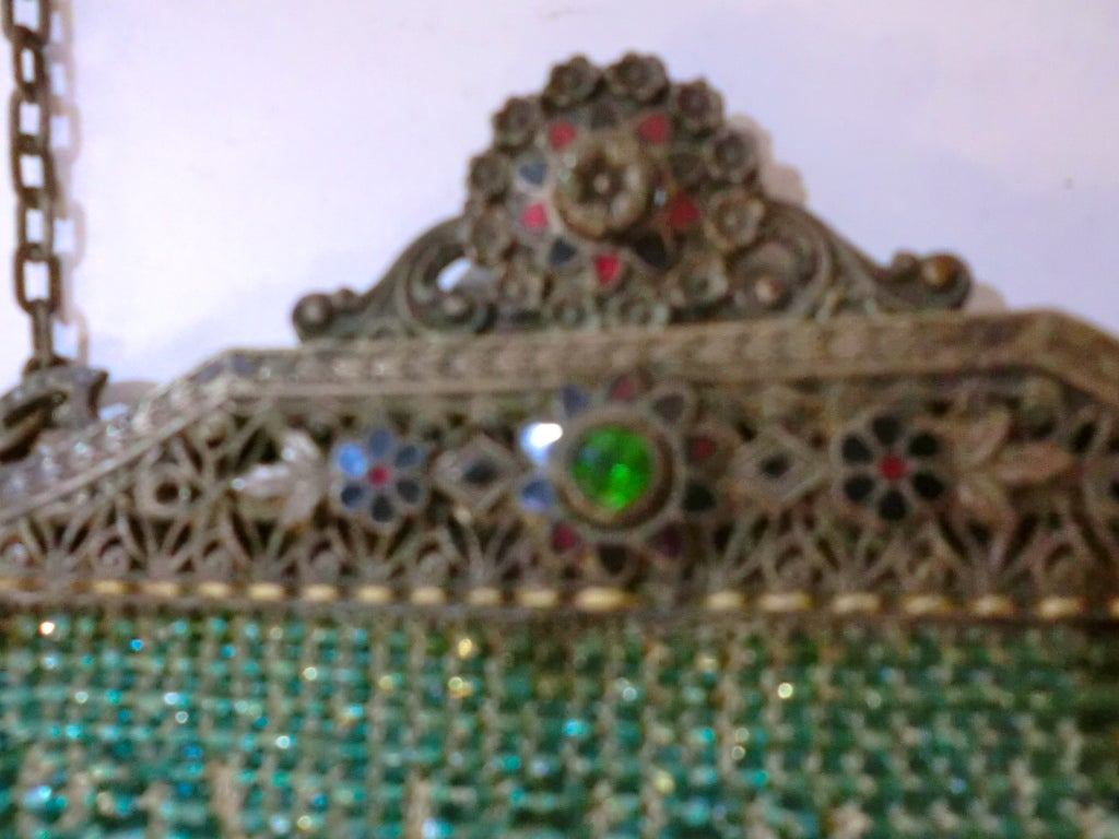 1920s Beaded Frame Evening Bag in Turquoise Beads 5