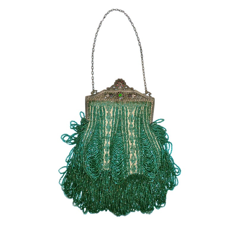 1920s Beaded Frame Evening Bag in Turquoise Beads
