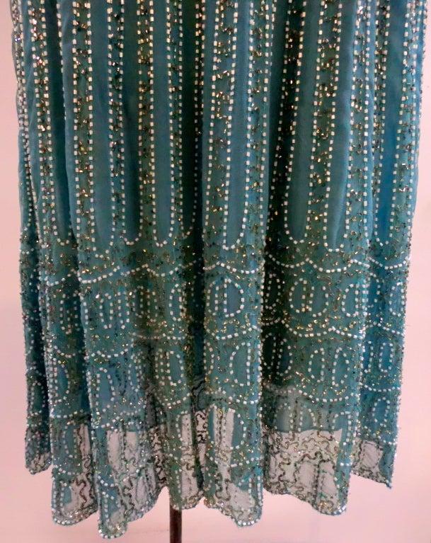 Blumarine Turquoise Beaded Silk Chiffon Skirt 3