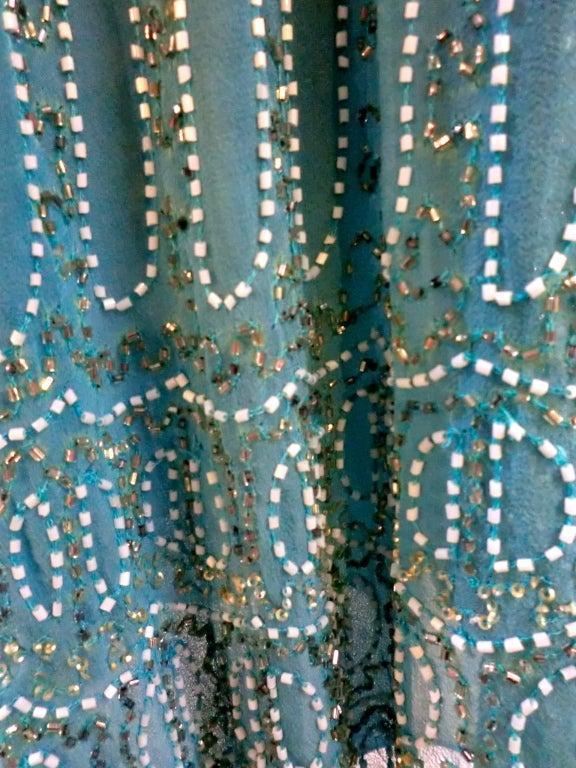 Blumarine Turquoise Beaded Silk Chiffon Skirt 4
