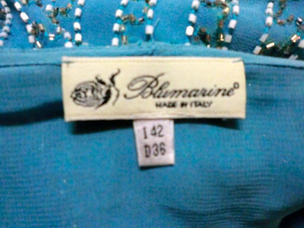 Blumarine Turquoise Beaded Silk Chiffon Skirt 5