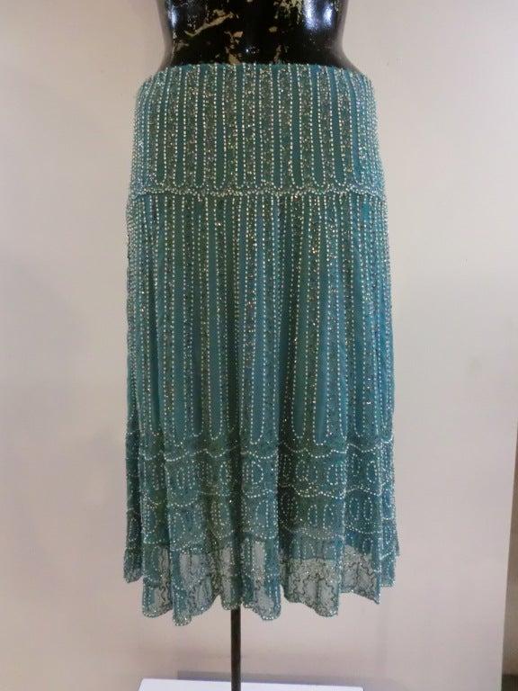 Blumarine Turquoise Beaded Silk Chiffon Skirt 2