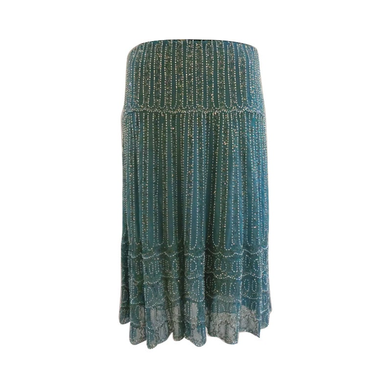 Blumarine Turquoise Beaded Silk Chiffon Skirt 1