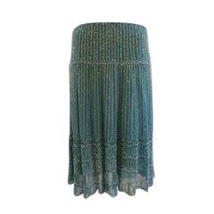 Blumarine Turquoise Beaded Silk Chiffon Skirt