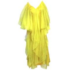 Pertegaz 1970s Silk Organza Gown in Billowing Yellow