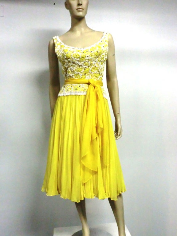 B. Altman 50s Beaded Yellow Silk Chiffon Cocktail Dress image 2