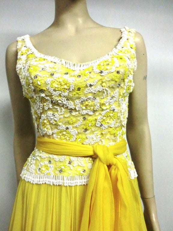 B. Altman 50s Beaded Yellow Silk Chiffon Cocktail Dress image 3