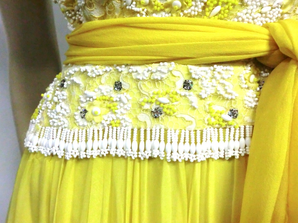 B. Altman 50s Beaded Yellow Silk Chiffon Cocktail Dress image 4