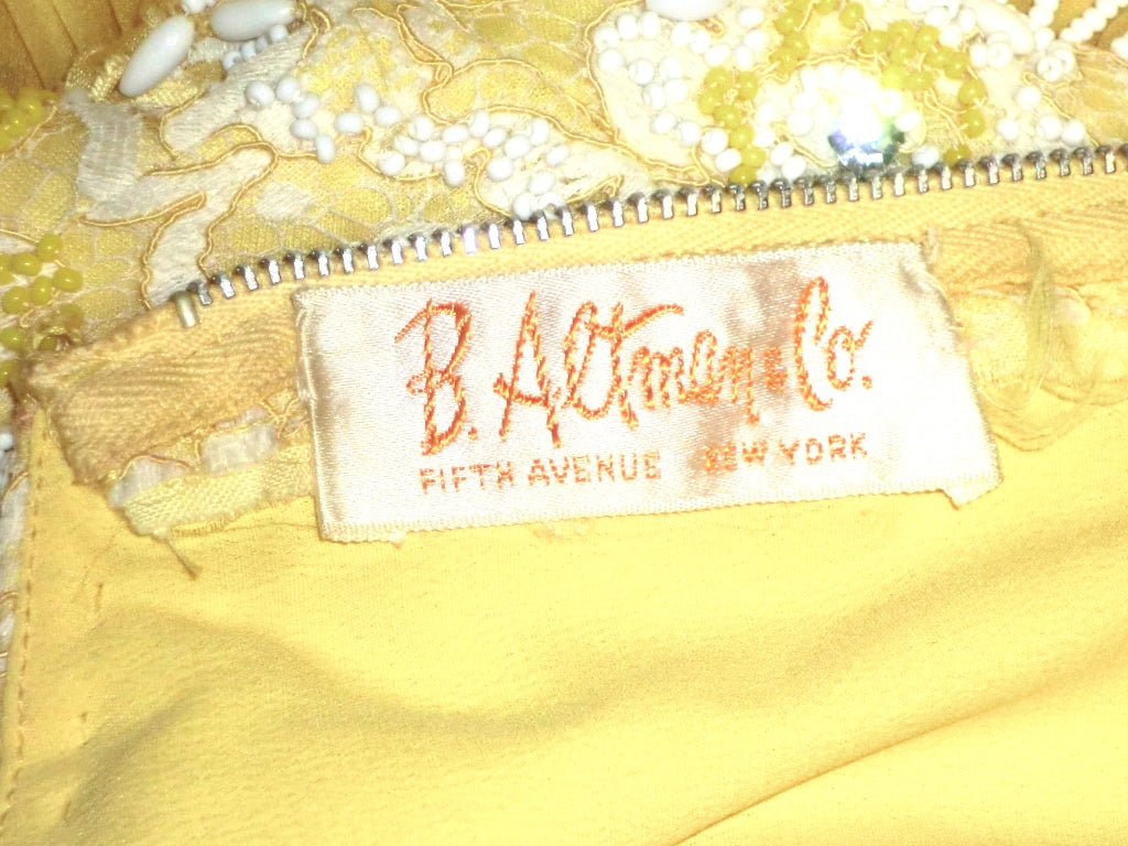 B. Altman 50s Beaded Yellow Silk Chiffon Cocktail Dress image 6