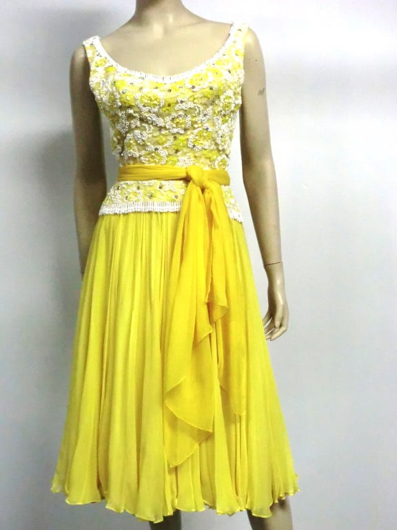B. Altman 50s Beaded Yellow Silk Chiffon Cocktail Dress image 7