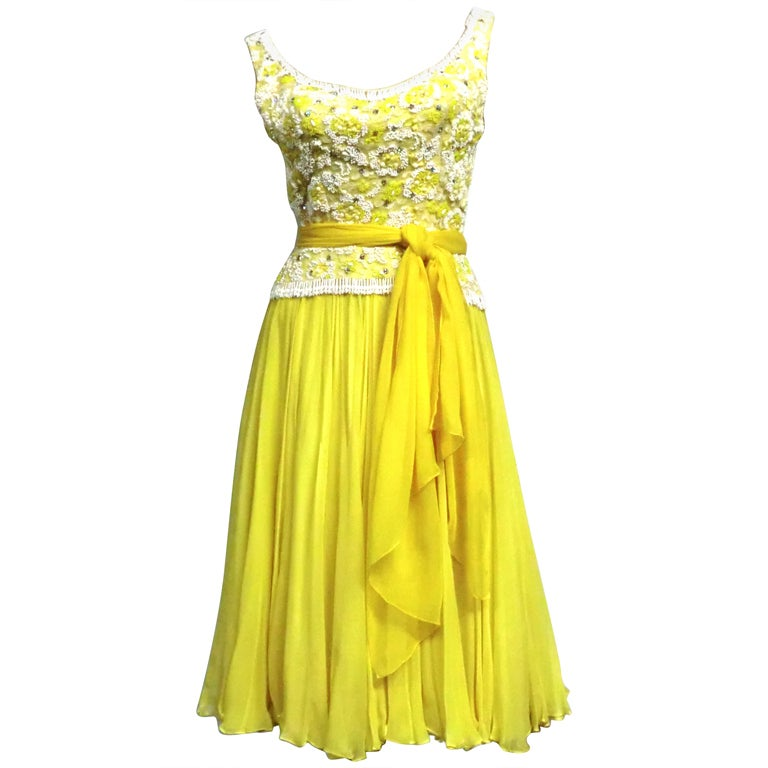 B. Altman 50s Beaded Yellow Silk Chiffon Cocktail Dress