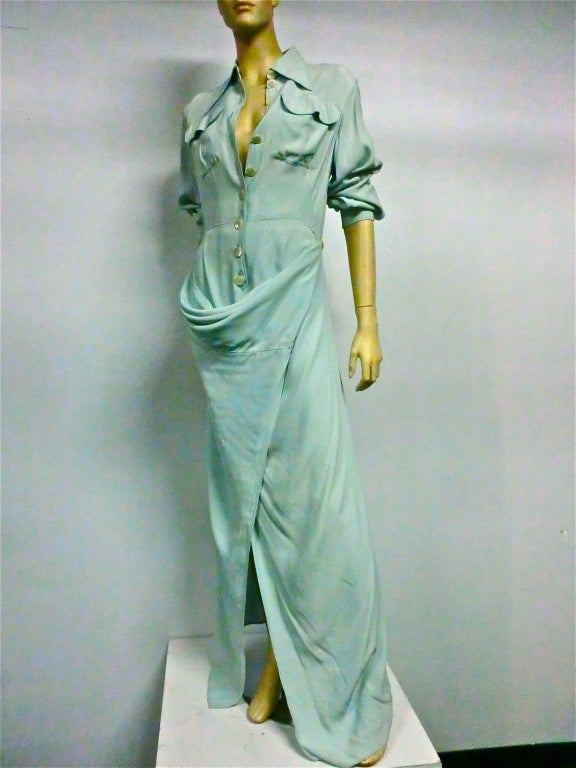 Jean Paul Gaultier Femme Shirtdress in Seafoam image 2