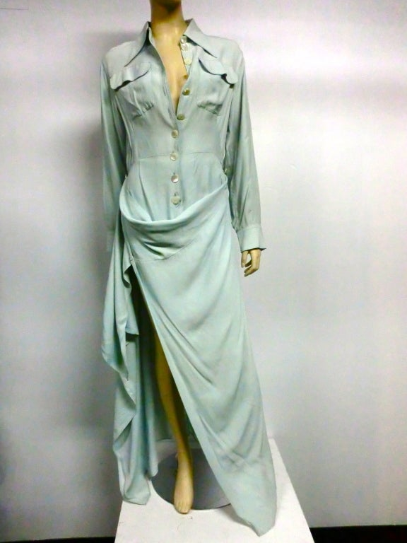 Jean Paul Gaultier Femme Shirtdress in Seafoam image 4