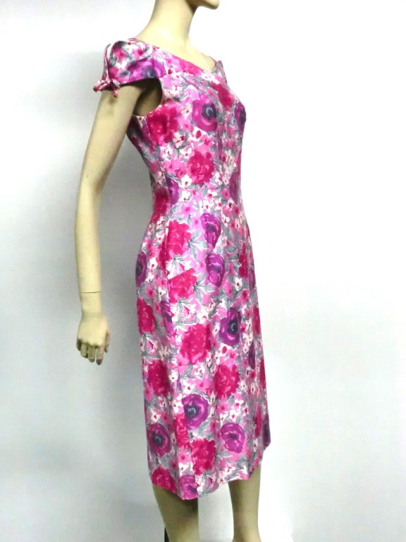 50s Floral Print Summer Cotton Sheath 2