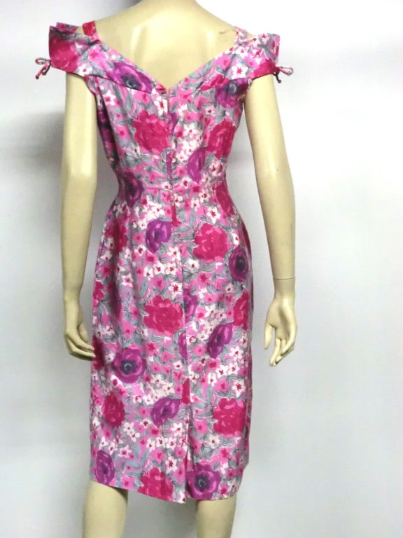 50s Floral Print Summer Cotton Sheath 3