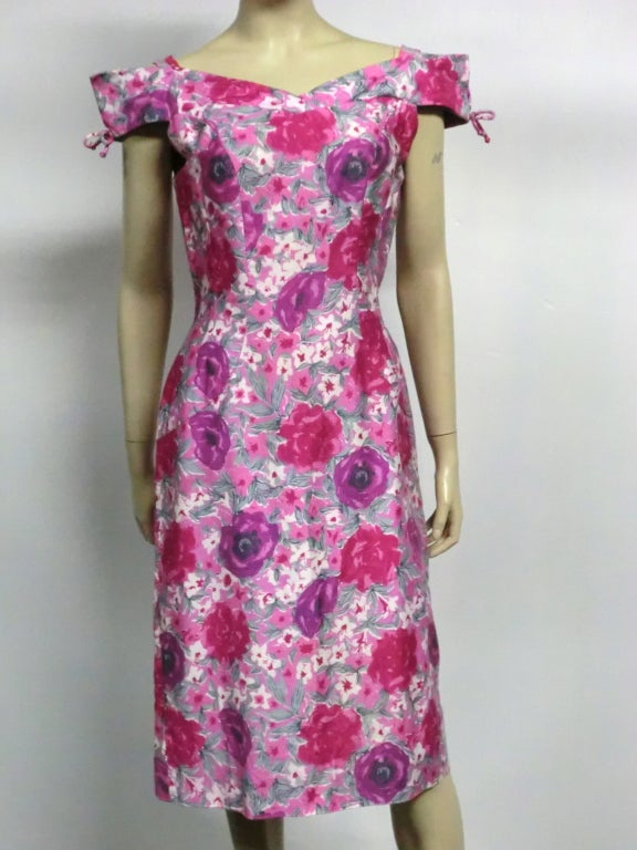 50s Floral Print Summer Cotton Sheath 6