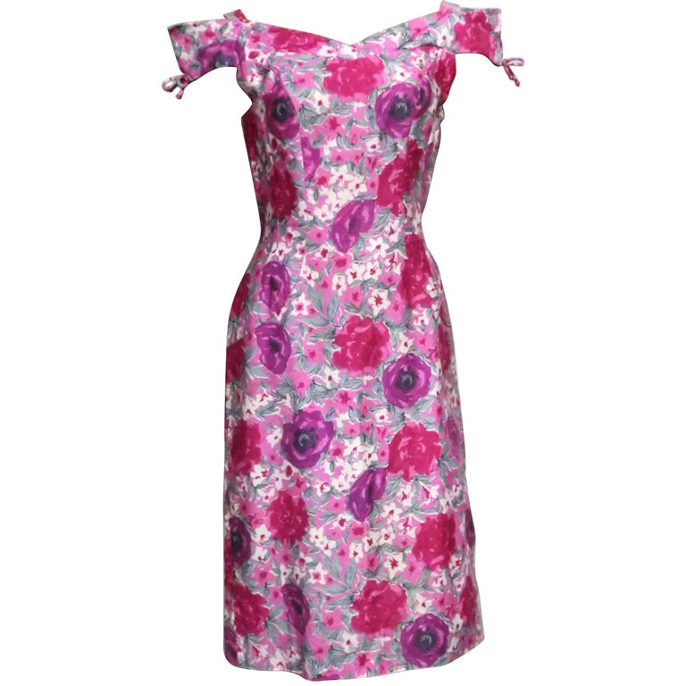 50s Floral Print Summer Cotton Sheath 1