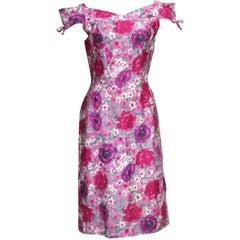 50s Floral Print Summer Cotton Sheath