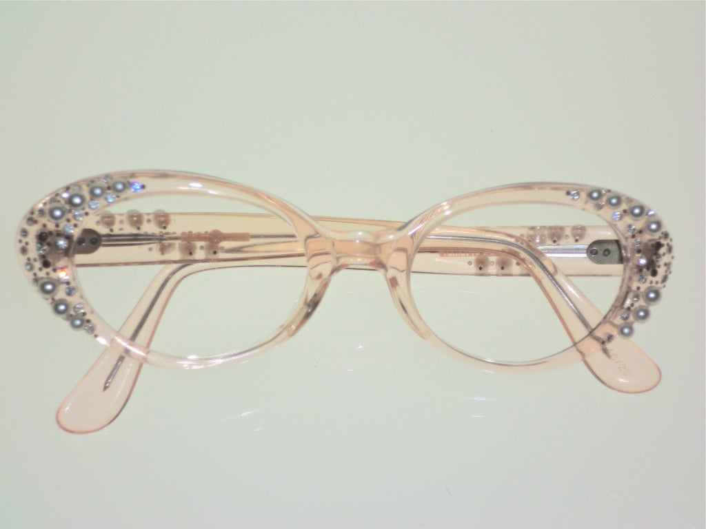 French Made Lucite 50s Rhinestone and Pearl Frames 2