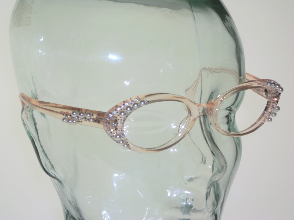 French Made Lucite 50s Rhinestone and Pearl Frames 3