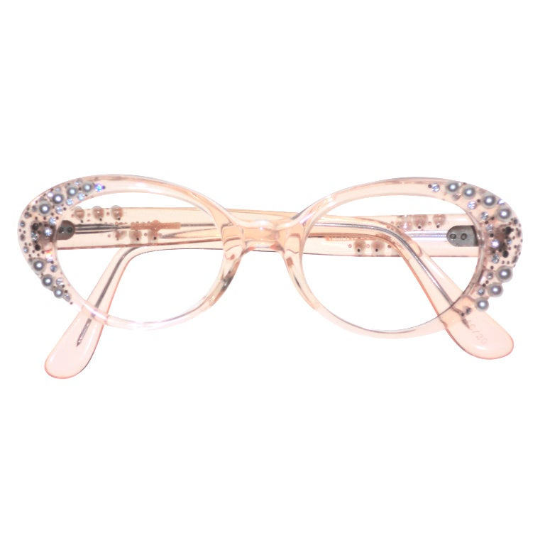 French Made Lucite 50s Rhinestone and Pearl Frames 1
