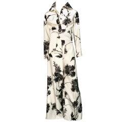 Tori Richard Hawaiian Bold Black/White Floral Print Pantsuit