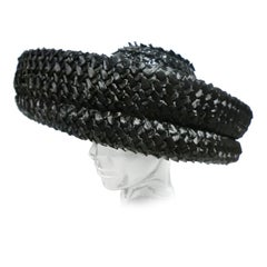 """60s Large Black Woven Straw """"Madeline"""" Hat"""