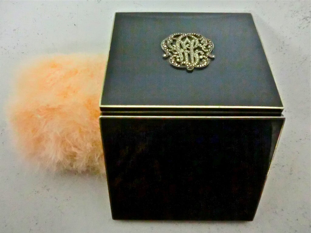 20s Enameled Compact with Jeweled Monogram and Marabou Puff 4