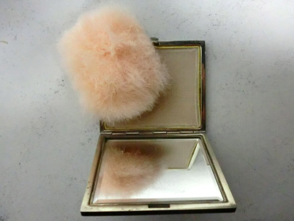 20s Enameled Compact with Jeweled Monogram and Marabou Puff 6