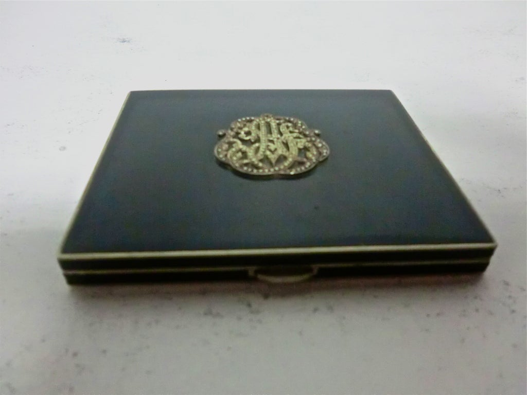 20s Enameled Compact with Jeweled Monogram and Marabou Puff 7
