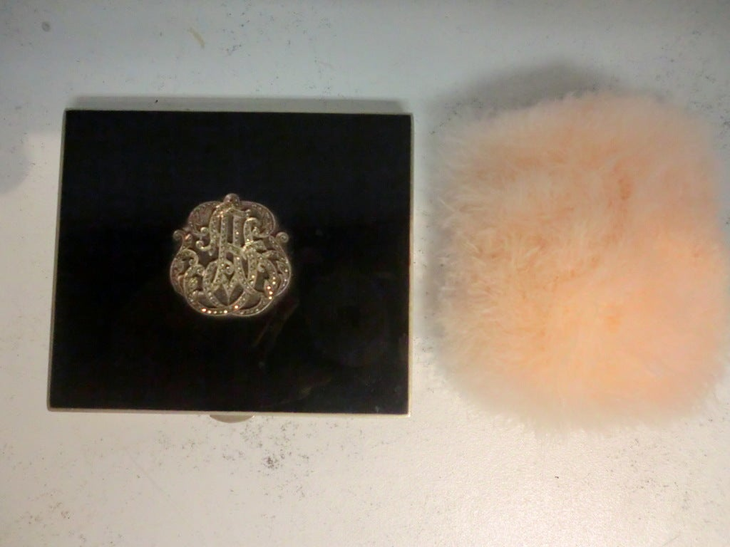 20s Enameled Compact with Jeweled Monogram and Marabou Puff 3