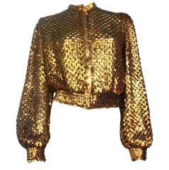 70s I. Magnin Bronze Sequin Knit Mesh Button Up Sweater