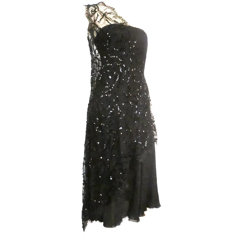 70s Stavropoulos Back Silk Dress w/ Sequin Chantilly Lace