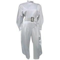Thierry Mugler Futuristic Silver Wool Gabardine Jumpsuit