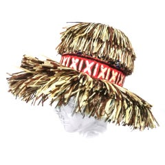 """Whimsical 50s """"Tiki"""" Hat with Wide Band"""