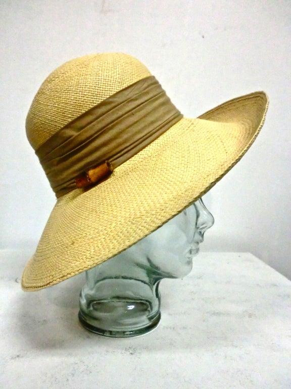 Halston 70s Straw Hat with Bamboo Trim 2