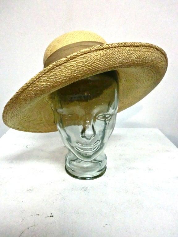Halston 70s Straw Hat with Bamboo Trim 3