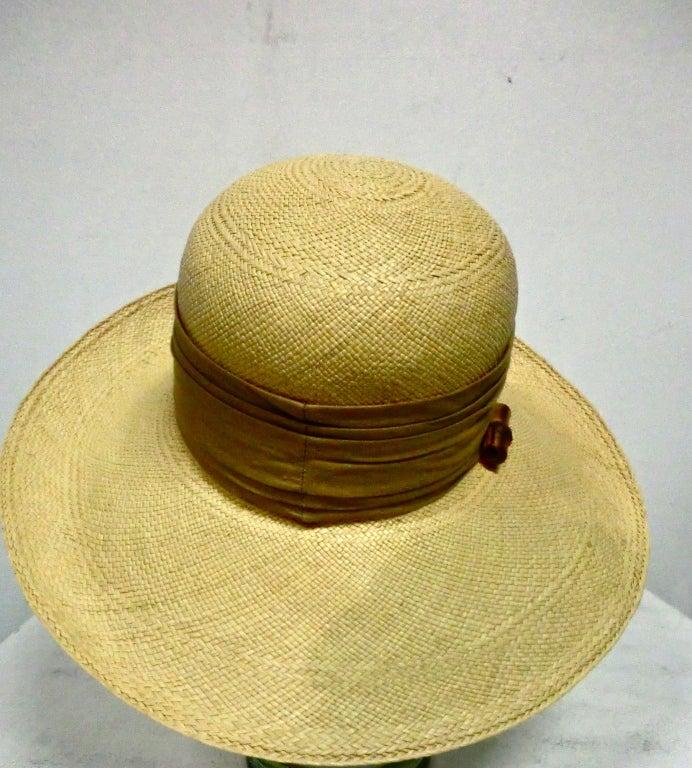 Halston 70s Straw Hat with Bamboo Trim 4