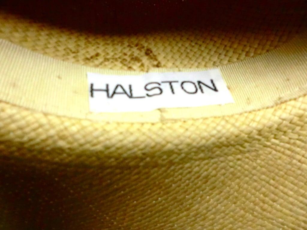 Halston 70s Straw Hat with Bamboo Trim 6
