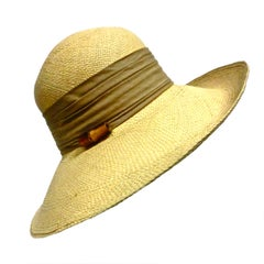 Halston 70s Straw Hat with Bamboo Trim