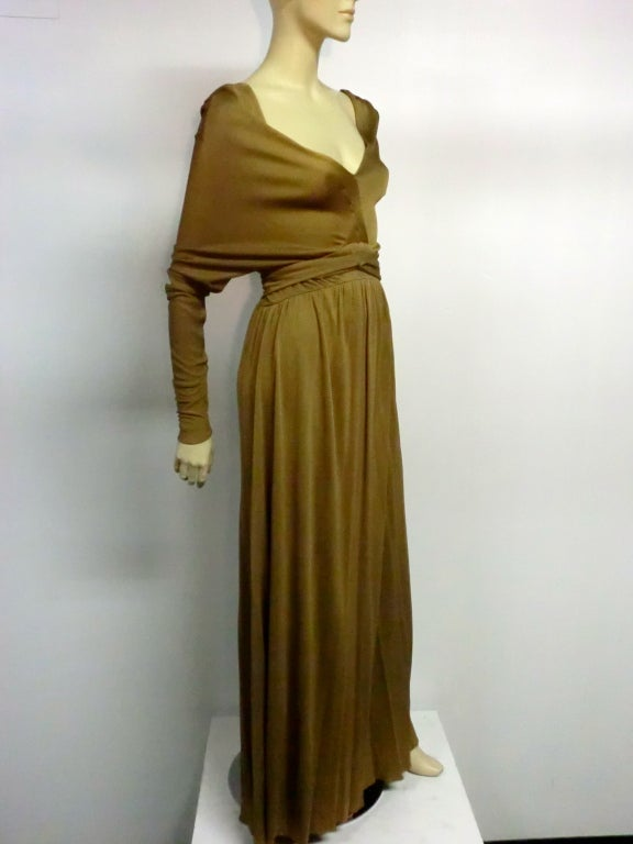 Brown Malcolm Starr Gorgeous Tobacco Silk Jersey Gown For Sale