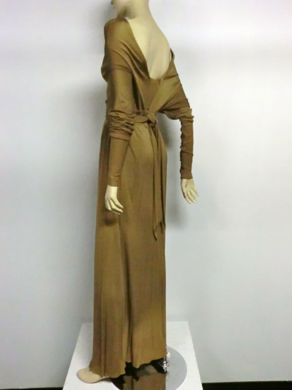 Women's Malcolm Starr Gorgeous Tobacco Silk Jersey Gown For Sale