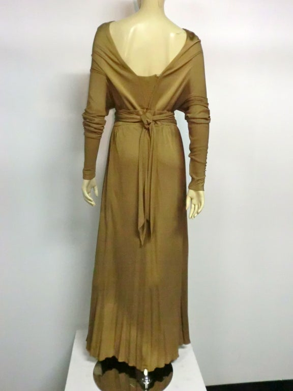 Malcolm Starr Gorgeous Tobacco Silk Jersey Gown For Sale 1