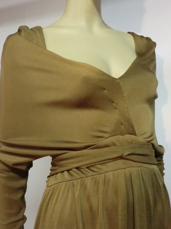 Malcolm Starr Gorgeous Tobacco Silk Jersey Gown For Sale 2