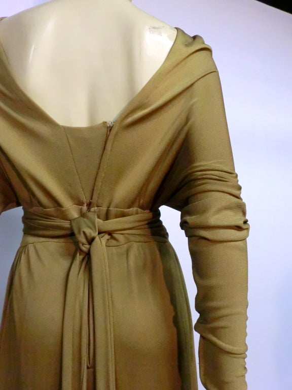 Malcolm Starr Gorgeous Tobacco Silk Jersey Gown For Sale 3