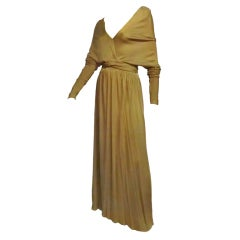 Malcolm Starr Gorgeous Tobacco Silk Jersey Gown