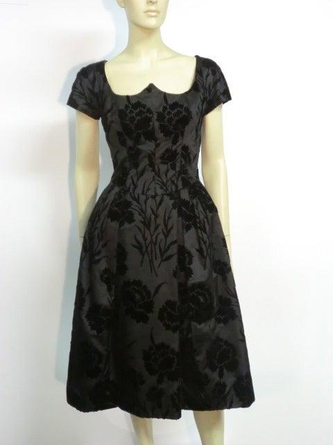 50s Silk Flocked Brocade Samuel Winston Party Dress image 2