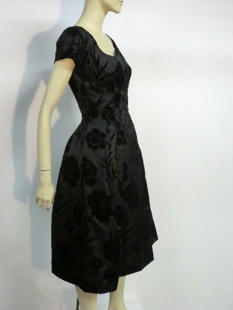 50s Silk Flocked Brocade Samuel Winston Party Dress image 3
