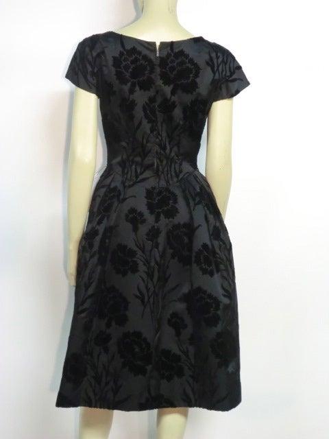 50s Silk Flocked Brocade Samuel Winston Party Dress image 4